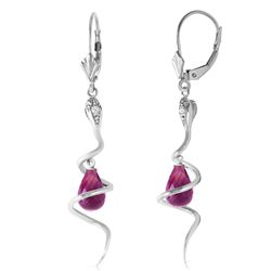 ALARRI 14K Solid White Gold Snake Earrings w/ Dangling Briolette Amethysts & Diamonds