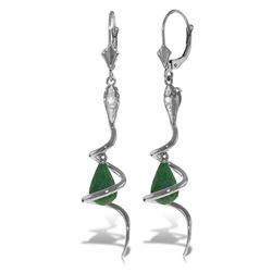 ALARRI 14K Solid White Gold Snake Earrings w/ Briolette Green Dyed Sapphire & Diamonds