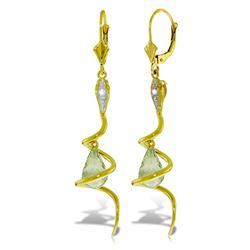 ALARRI 14K Solid Gold Snake Earrings w/ Dangling Briolette Green Amethysts & Diamond