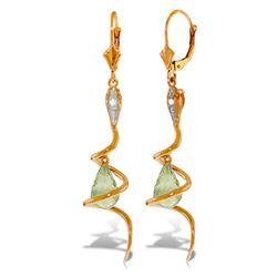 ALARRI 14K Solid Rose Gold Snake Earrings w/ Dangling Briolette Green Amethysts & Diamond