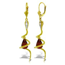 ALARRI 14K Solid Gold Snake Earrings w/ Dangling Briolette Garnets & Diamonds
