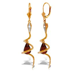 ALARRI 14K Solid Rose Gold Snake Earrings w/ Dangling Briolette Garnets & Diamonds