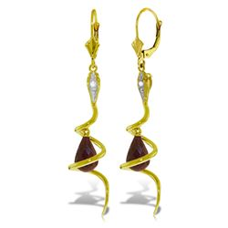 ALARRI 14K Solid Gold Snake Earrings w/ Briolette Dyed Rubies & Diamonds