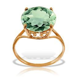 ALARRI 14K Solid Rose Gold Ring w/ Natural 12.0 mm Round Green Amethyst