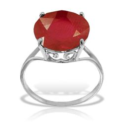 ALARRI 14K Solid White Gold Ring w/ Natural 12.0 mm Round Ruby