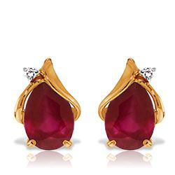 ALARRI 14K Solid Rose Gold Studs Earrings w/ Natural Diamonds & Rubies