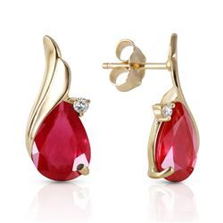 ALARRI 14K Solid Gold Studs Earrings w/ Natural Diamonds & Rubies