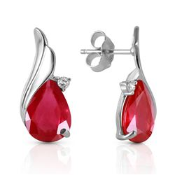 ALARRI 14K Solid White Gold Studs Earrings w/ Natural Diamonds & Rubies