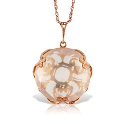 ALARRI 14K Solid Rose Gold Necklace w/ Checkerboard Cut Round Rose Quartz