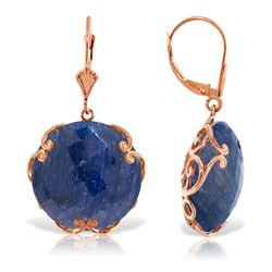 ALARRI 14K Solid Rose Gold Leverback Earrings w/ Checkerboard Cut Round Dyed Sapphires