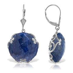 ALARRI 14K Solid White Gold Leverback Earrings w/ Checkerboard Cut Round Dyed Sapphires