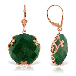 ALARRI 14K Solid Rose Gold Leverback Earrings w/ Checkerboard Cut Round Dyed Green Sapphires