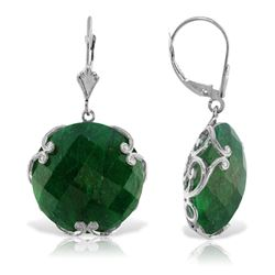 ALARRI 14K Solid White Gold Leverback Earrings w/ Checkerboard Cut Round Dyed Green Sapphires