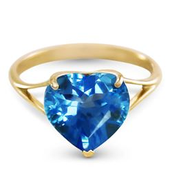 ALARRI 14K Solid Gold Ring w/ Natural 10.0 mm Heart Blue Topaz
