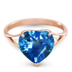 ALARRI 14K Solid Rose Gold Ring w/ Natural 10.0 mm Heart Blue Topaz