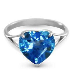 ALARRI 14K Solid White Gold Ring w/ Natural 10.0 mm Heart Blue Topaz