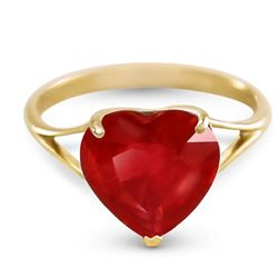 ALARRI 14K Solid Gold Ring w/ Natural 10.0 mm Heart Ruby