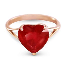 ALARRI 14K Solid Rose Gold Ring w/ Natural 10.0 mm Heart Ruby