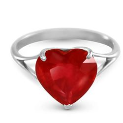 ALARRI 14K Solid White Gold Ring w/ Natural 10.0 mm Heart Ruby