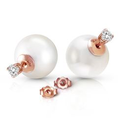 ALARRI 14K Solid Rose Gold Stud 0.80 Carat Natural Diamonds Earrings w/ White Shell Pearls
