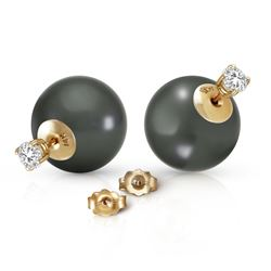 ALARRI 14K Solid Gold Stud 0.80 Carat Natural Diamonds Earrings w/ Black Shell Pearls