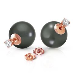 ALARRI 14K Solid Rose Gold Stud 0.80 Carat Natural Diamonds Earrings w/ Black Shell Pearls