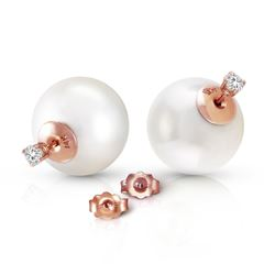 ALARRI 14K Solid Rose Gold Stud 0.40 Carat Natural Diamonds Earrings w/ White Shell Pearls