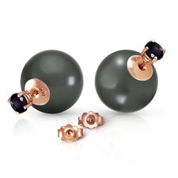 ALARRI 14K Solid Rose Gold Stud 1.0 Carat Natural Black Diamonds & Black Shell Pearl Earrings