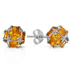 ALARRI 14K Solid White Gold Stud Earrings w/ Natural Citrines