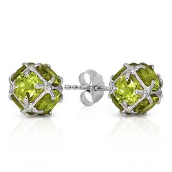 ALARRI 14K Solid White Gold Stud Earrings w/ Natural Peridots