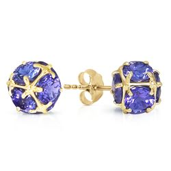 ALARRI 14K Solid Gold Stud Earrings w/ Natural Tanzanites