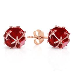 ALARRI 14K Solid Rose Gold Stud Earrings w/ Natural Rubies