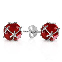 ALARRI 14K Solid White Gold Stud Earrings w/ Natural Rubies