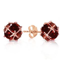 ALARRI 14K Solid Rose Gold Stud Earrings w/ Natural Garnets