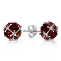 ALARRI 14K Solid White Gold Stud Earrings w/ Natural Garnets