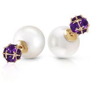 ALARRI 14K Solid Gold Tribal Double Shell Pearls And Amethysts Stud Earrings