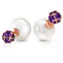ALARRI 14K Solid Rose Gold Tribal Double Shell Pearls And Amethysts Stud Earrings
