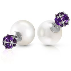 ALARRI 14K Solid White Gold Tribal Double Shell Pearls And Amethysts Stud Earrings
