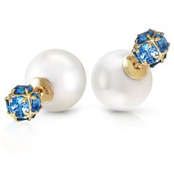 ALARRI 14K Solid Gold Tribal Double Shell Pearls And Blue Topaz Stud Earrings