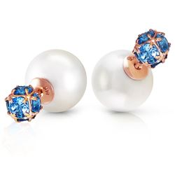 ALARRI 14K Solid Rose Gold Tribal Double Shell Pearls And Blue Topaz Stud Earrings
