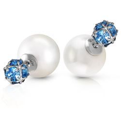 ALARRI 14K Solid White Gold Tribal Double Shell Pearls And Blue Topaz Stud Earrings