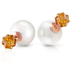 ALARRI 14K Solid Rose Gold Tribal Double Shell Pearls And Citrines Stud Earrings