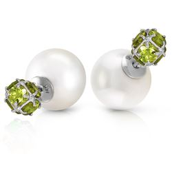ALARRI 14K Solid White Gold Tribal Double Shell Pearls And Peridots Stud Earrings