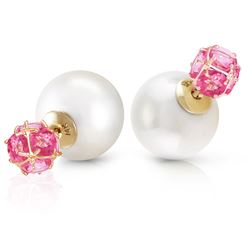 ALARRI 14K Solid Gold Tribal Double Shell Pearls And Pink Topaz Stud Earrings