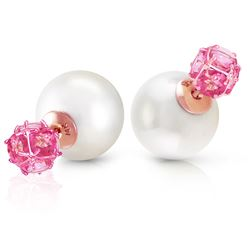 ALARRI 14K Solid Rose Gold Tribal Double Shell Pearls And Pink Topaz Stud Earrings