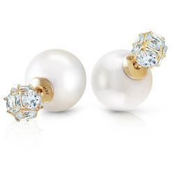 ALARRI 14K Solid Gold Tribal Double Shell Pearls And Aquamarines Stud Earrings