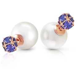 ALARRI 14K Solid Rose Gold Tribal Double Shell Pearls And Tanzanites Stud Earrings