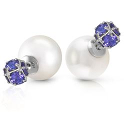 ALARRI 14K Solid White Gold Tribal Double Shell Pearls And Tanzanites Stud Earrings