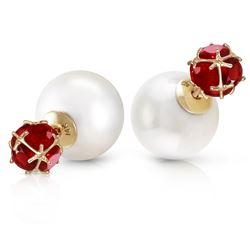 ALARRI 14K Solid Gold Tribal Double Shell Pearls And Rubies Stud Earrings