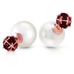 ALARRI 14K Solid Rose Gold Tribal Double Shell Pearls And Garnets Stud Earrings